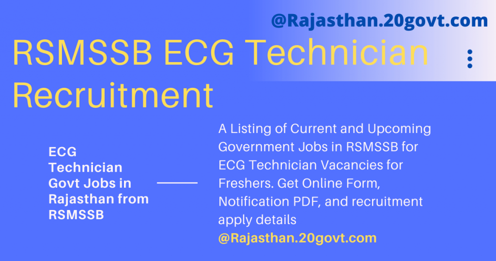RSMSSB ECG Technician Recruitment in Rajasthan Government for Paramedical Jobs-20govt-dot-com-1200x630